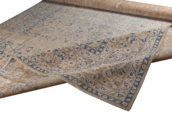 10'3''x16'07''Pastel Camel-Blue Color Turkish Wool Rug,Anatolian Ottoman Handmade Area Rug,Decorative Rug,Nomadic Rug,Modern Art Rug,2590