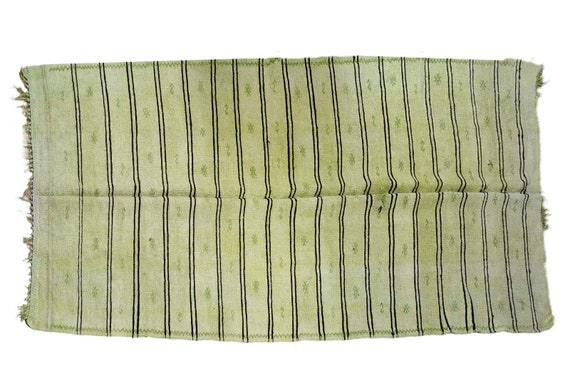 5'2''x11'8''Vintage Hemp Rug,Green  Turkish Area Hemp Rug,Bedroom Rug, Neutral Hemp Rug,Living Room Rug,Boho Rug,Antique Rug,Faded Rug,