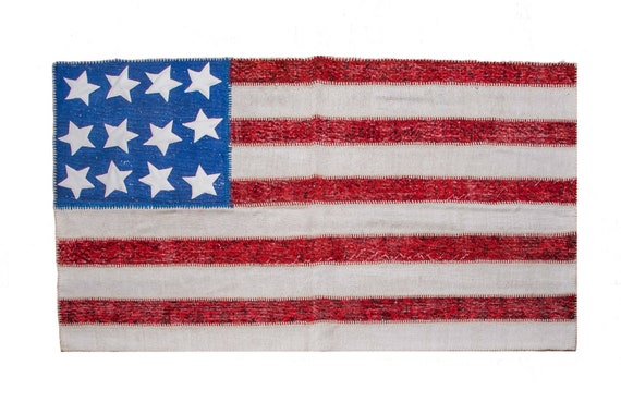 3'9''x6'5'' United States Flag Patchwork ,Red-White Color Rug Vintage Area Rug made of Vintage Faded Turkish Rugs , collage Unique Area Rug,