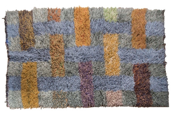 Very Diffrent Unique Tulu Rug,6'4''x9'9''Colorful Color Shaggy Rug,Bohemian Rustic Rug,Handmade area rug,Faded Rug,3022