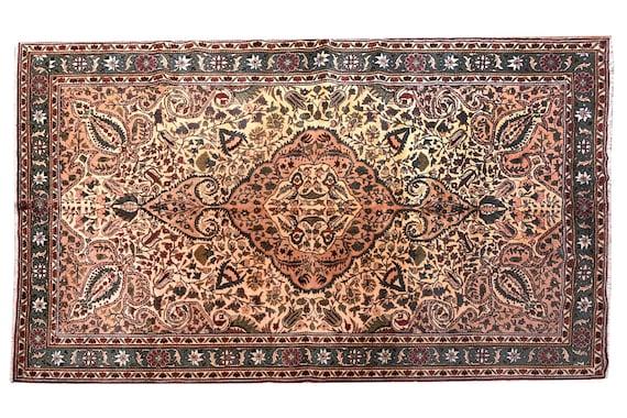"6'3""X9'8''Vintage Rug,Gold Color Turkish Area Rug,Bedroom Rug,Neutral Rug,Living Room Rug,Boho Rug,Decorative Rug,Kayseri Faded Rug,3255"