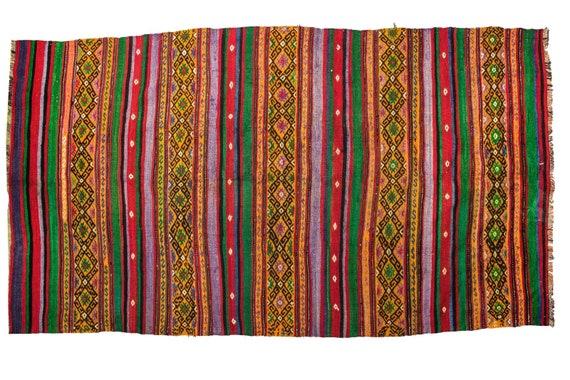4'8''x9'2'' Yellow-Rainbow Color Vintage Turkish Wool Rug,Anatolian Handmade Area Rug,Home Decor,Decorative Rug,Cicim Rug,Nomadic Rug,