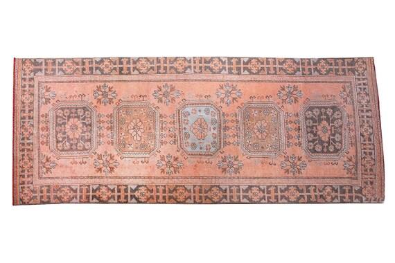 3'9''x11'4''Vintage Rug,Pastel Copper Tone Color Turkish Area Runner Rug,Bedroom Rug,Neutral Rug,Living Room Rug,Boho Rug,Faded Rug,3249