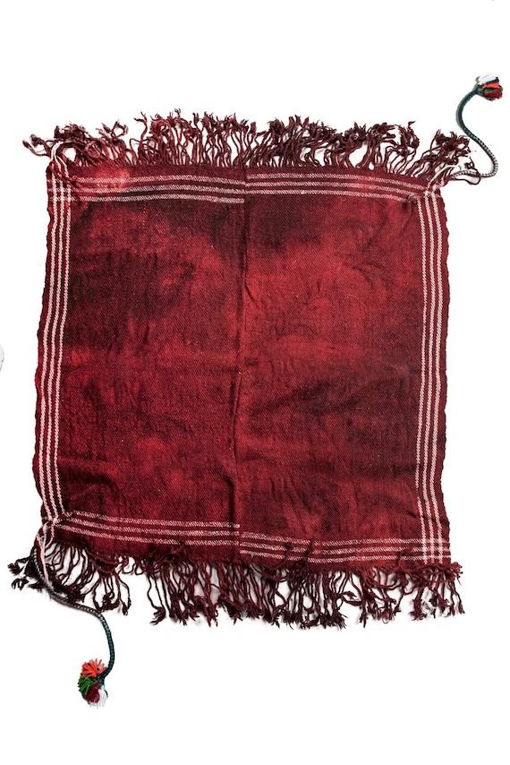 3'05''x3'2''Burgandy Color,Original Old Hand Woven Cook Apron Rug,Anatolian Ottoman Handmade Area Rug,Home Decor,Decorative Rug,Nomadic Rug