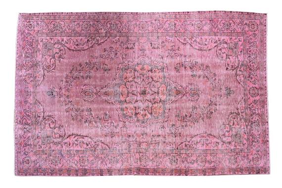 6'0''x10'2''Faded Pink Color Turkish Wool Rug,Anatolian Ottoman Handmade Area Rug,Decorative Rug,Nomadic Rug,Modern Art Rug,3430