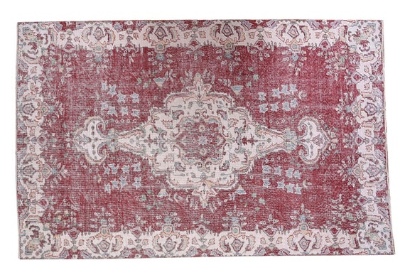 5'4''x8'8''Twin Rug,Faded Red-Beige Color Turkish Wool Rug,Anatolian  Handmade Area Rug,Decorative Rug,Nomadic Rug,Modern Art Rug,3198