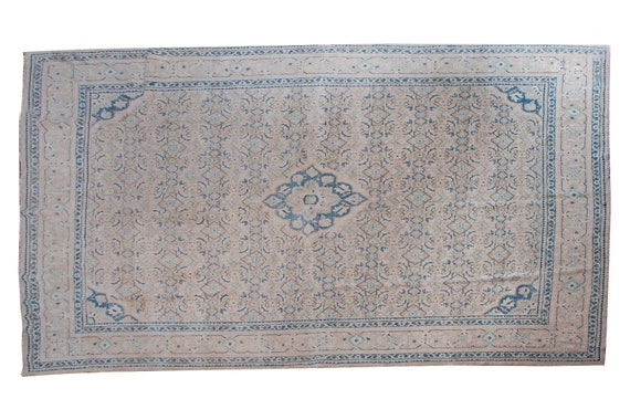 9'3''x13'2''Natural Pastel Beige-Blue Color Turkish Wool Rug,Anatolian Ottoman Handmade Area Rug,Decorative Rug,Nomadic Rug,Modern  Rug,2592