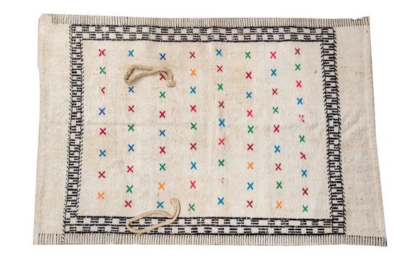 2'6''x3'9'' Beige-Black Color Vintage Turkish Wool Rug,Anatolian Handmade Area Rug,Home Decor,Decorative Rug,Hanging Cute Rug,Nomadic Rug,