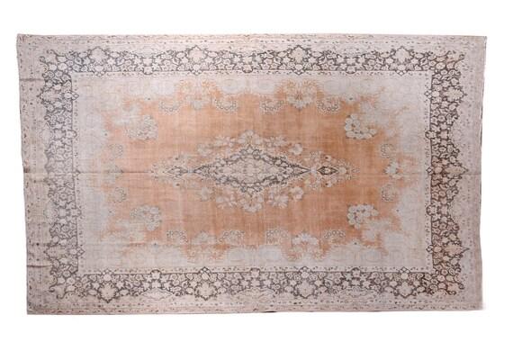 """9'5""""X13'1''Vintage Pastel Beige-Copper Color Turkish Area Rug,Bedroom Rug,Neutral Rug,Living Room Rug,Boho Rug,Decorative Rug,Faded Rug,3236"""