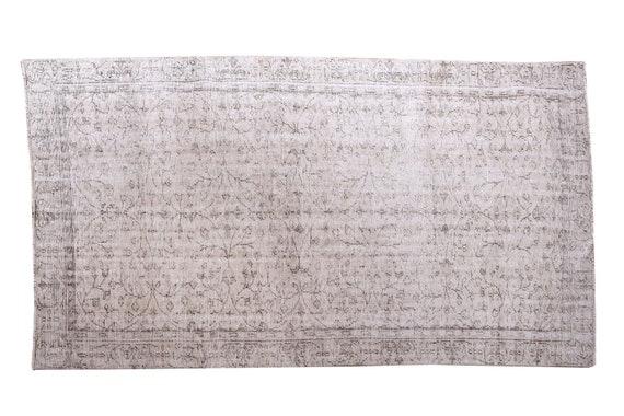 5'1''x8'9''Faded Gray-Black Color Turkish Wool Rug,Anatolian Ottoman Handmade Area Rug,Decorative Rug,Nomadic Rug,Modern Art Rug,3220
