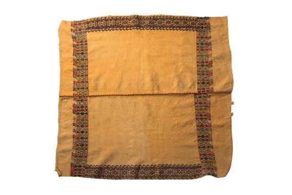 3'8''x3'9''Yellow  Color Vintage Turkish Wool Table Cicim Rug,Anatolian Ottoman Handmade Area Rug,Home Decor,Decorative Rug,Nomadic Rug