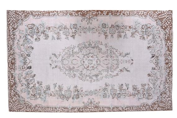 6'2''x9'4''Vintage Rug,Pastel Beige Color Turkish Area Rug,Bedroom Rug,Neutral Rug,Living Room Rug,Boho Rug,Decorative Rug,Faded Rug,3178