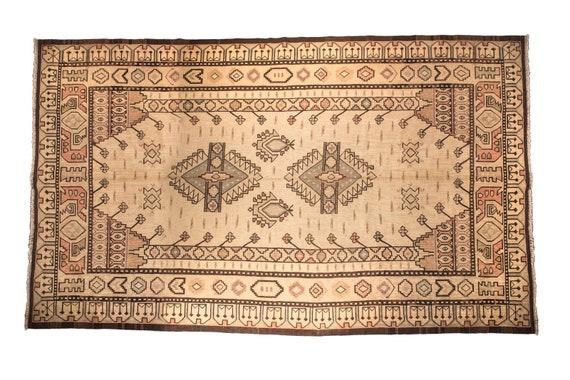 7'08''x11'3''Beige-BrownColor Vintage Turkish Wool Rug,Anatolian Ottoman Handmade Area Rug,Home Decor,Decorative Rug,Nomadic Rug,Ottoman Rug