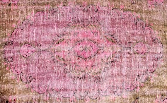 4'9''x8'03''Pink-Brown Color Vintage Turkish Wool Rug,Anatolian Ottoman Handmade Area Rug,Home Decor,Decorative Rug,Nomadic Rug, Custom Rug
