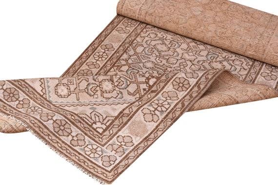 2'6''x13'5''Vintage Pastel Natural Brown-Beige Color Turkish Area Runner Rug,Bedroom Rug,Neutral Rug,Living Room Rug,Boho Rug,Faded Rug,3244