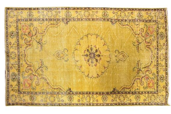 6'1''x10'4''Faded Yellow Color Turkish Wool Rug,Anatolian Ottoman Handmade Area Rug,Decorative Rug,Nomadic Rug,Modern Art Rug,3423