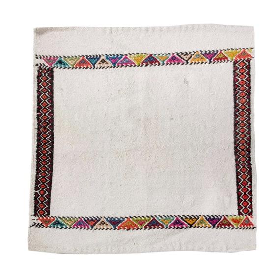 2'6''x2'8''White Color Vintage Turkish Table Cicim Rug,Anatolian Handmade  Design,Home Decor,Decorative Rug,Nomadic Rug,Custom Painted Rug