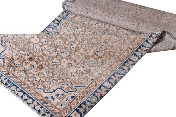 3'05''x12'9''Vintage Pastel Natural Brown-Blue Color Turkish Area Runner Rug,Bedroom Rug,Neutral Rug,Living Room Rug,Boho Rug,Faded Rug,3244