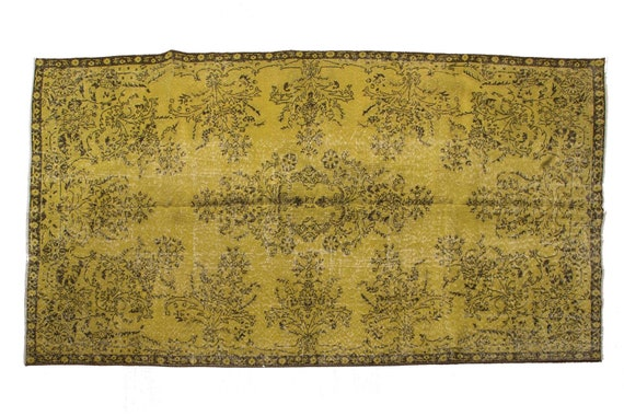 "5'5"" X 8'7'' Yellow Color Vintage Turkish Wool Rug,Anatolian Handmade Area Rug,Decorative Rug,Nomadic Rug,An Artistic Work Rug,1000"