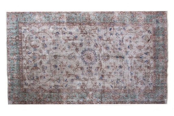 4'8''x7'8''Gray-Turquoise Color Vintage Turkish Wool Rug,Anatolian Handmade Area Rug,Decorative Rug,Nomadic Rug,An Artistic Work Rug,3116