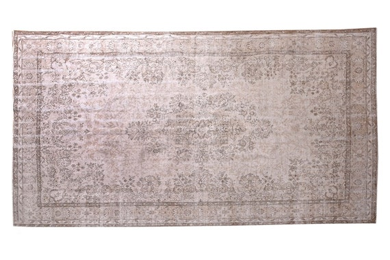 6'3''x9'7''Faded Beige-Brown Color Turkish Wool Rug,Anatolian Ottoman Handmade Area Rug,Decorative Rug,Nomadic Rug,Modern Art Rug,3230