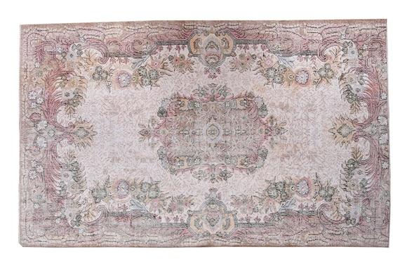 6'06''x9'05''Vintage Rug,Beige Color Turkish Area Rug,Bedroom Rug,Neutral Rug,Living Room Rug,Boho Rug,Decorative Rug,Faded Rug,3174