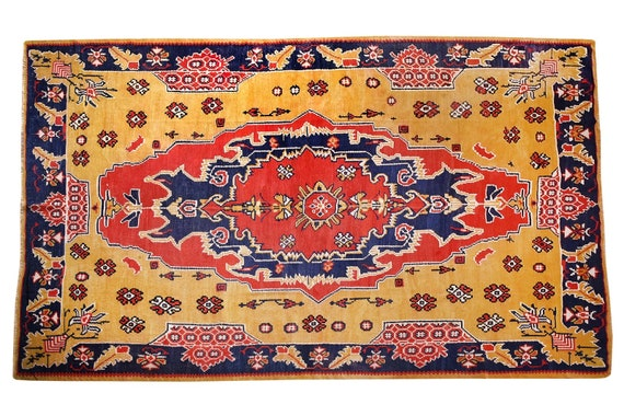 7'7''x9'5''Vintage Rug,Yellow Color Turkish Area Rug,Bedroom Rug,Neutral Rug,Living Room Rug,Boho Rug,Decorative Rug,Faded Rug,2831