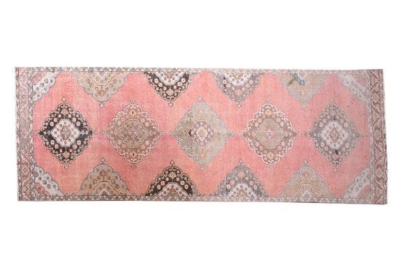 """3'7""""X12'8''Vintage Light PastelPink Color Turkish Area Runner Rug,Bedroom Rug,Neutral Rug,Living Room Rug,Boho Rug,Decorative Faded Rug,3259"""