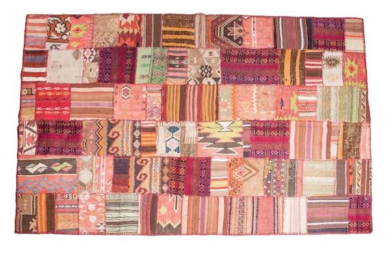 Rainbow Patchwork Rug,Custom Old  Design Rug,Vintage Area Rug made of Vintage Faded Turkish Rugs ,collage Unique Area Rug, 2.9x4.9 feet