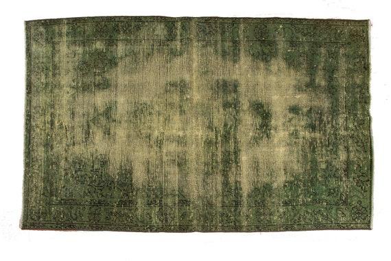 3'6''x5'9''Green Color VintageTurkish Wool Rug,Anatolian Ottoman Handmade Area Rug,Home Decor,Decorative Rug,Custom Design Rug,2614