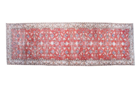 2'6'' x 10'1'' Brick Color Vintage Turkish Wool Rug,Anatolian Handmade Area Rug,Home Decor,Decorative Rug,Black Runner Rug,Nomadic Rug,
