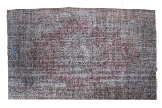 "6'5"" X 9'8''Faded Gray-Red Color Vintage Turkish Wool Rug,Anatolian Handmade Area Rug,Decorative Rug,Nomadic Rug,An Artistic Work Rug,2676"