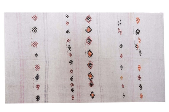4'7''x10'1''Vintage,Natural Beige Color Turkish Area Hemp Rug, Bedroom Rug, Neutral Rug,Living Room Rug,Boho Rug,Antique Rug,Faded Rug,2562