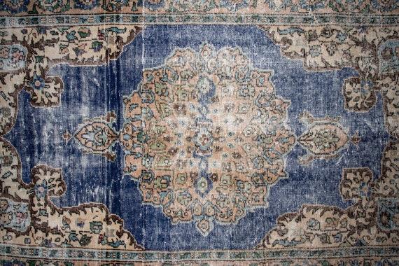 5'4'' x 9'4'' Beige-Blue Color Vintage Turkish Wool Rug,Anatolian Handmade Area Rug,Home Decor,Decorative Rug ,Nomadic Rug,Modern Rug