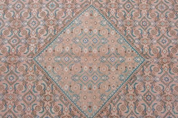 9'8''x12'9''Natural Color-Blue Turkish Wool Rug,Anatolian Ottoman Handmade Area Rug,Decorative Rug,Nomadic Rug,Modern Art Rug,2484