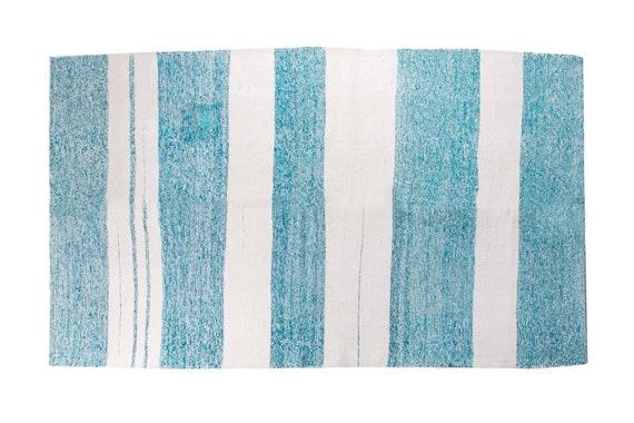 4'5''x7'8'' White-Blue Color Vintage Turkish Decorative  Hemp Rug,Anatolian Handmade Area Rug,Home Decor,Decorative Rug,Nomadic Rug,Hemp Rug