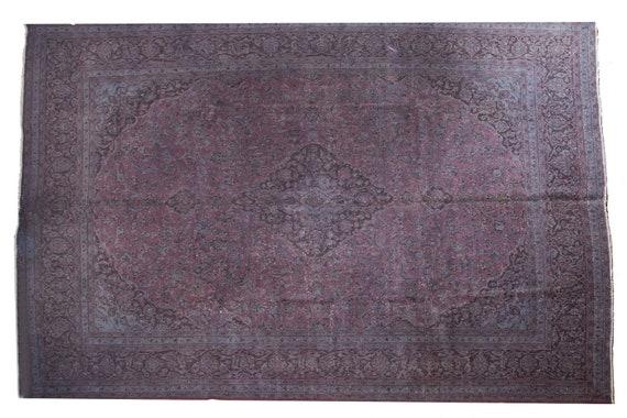 "9'8""X12'4'' Mid Country Plum-Black Color Vintage Turkish Wool Rug,Anatolian Handmade Area Rug,Decorative Rug,An Artistic Work Rug,3312"