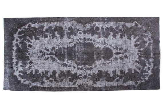 5'1''x9'1'' Faded Carved Rug,Mid Country Black Color Vintage Turkish Wool Rug,Anatolian Handmade Area Rug,An Artistic Work Rug,1013