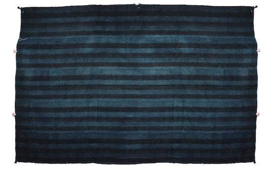 5'3'x 10'2'' Black Color Vintage Turkish Wool Rug,Anatolian Handmade Area Rug,Home Decor,Decorative Rug ,Nomadic Rug,Modern Rug,Striped Rug
