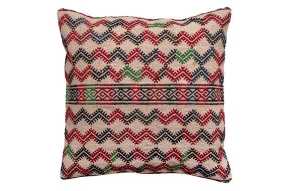 "21.6'' x 21.6""Turkish Anatolian Geometric Pillow, Beige Pillow, Striped Wool Pillow, Oushak Red Pillow, Kilim Rug Pillow, Boho Black Pillow"