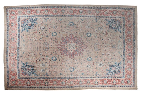 9'7''x13'1''Natural-Red Color Turkish Wool Rug,Anatolian Ottoman Handmade Area Rug,Decorative Rug,Nomadic Rug,Modern Art Rug,2477
