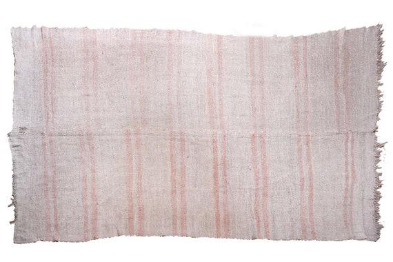 6'3''x12'3''Vintage,Natural Beige Color Turkish Area Hemp Rug, Bedroom Rug, Neutral Rug,Living Room Rug,Boho Rug,Antique Rug,Faded Rug,2546