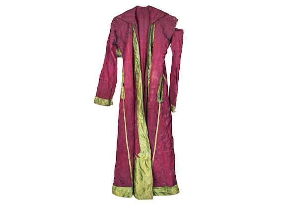 3'7''x5'7'' Purple-Green Color Vintage Turkish Old Caftan Dress,Decorative Caftan