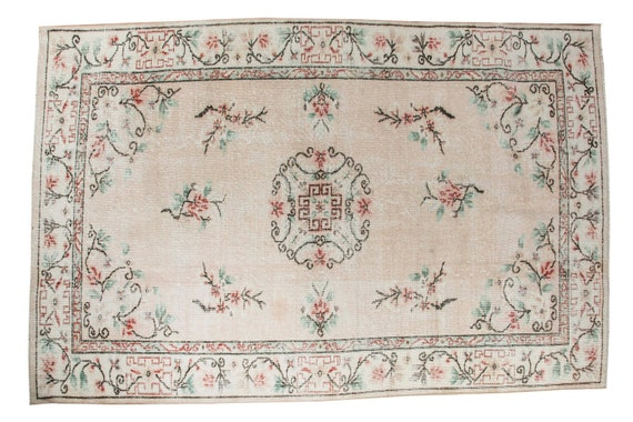 4'9''x 8'2'' Light Pastel  Colors Vintage Turkish Wool Rug,Anatolian Handmade Area Rug,Home Decor,Decorative Rug,Nomadic Rug,Modern Rug