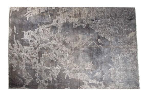 7'5''x10'9''Grey Color Carved Rug Vintage Turkish Wool Rug,Anatolian Ottoman Handmade Area Rug,Nomadic Rug,Modern Art Rug