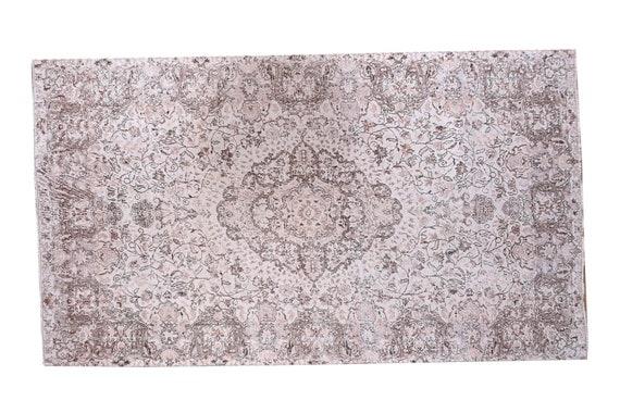 6'7''x10'6''Vintage Rug,Beige Color Turkish Area Rug,Bedroom Rug,Neutral Rug,Living Room Rug,Boho Rug,Decorative Rug,Faded Rug,3194