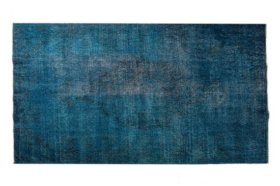 3'7''x6'8''Blue Color VintageTurkish Wool Rug,Anatolian Ottoman Handmade Area Rug,Home Decor,Decorative Rug,Custom Design Rug,3015