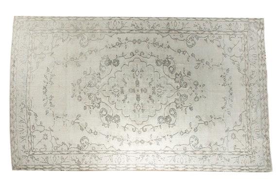 6'1'' x 9'5'' Beige Color Vintage Turkish Wool Rug,Anatolian Handmade Area Rug,Home Decor,Decorative Rug,Grey-Blue Rug,Nomadic Rug