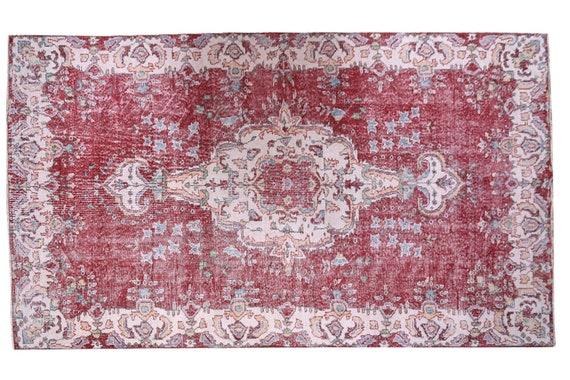 5'4''x9'4''Twin Rug,Faded Red-Beige Color Turkish Wool Rug,Anatolian  Handmade Area Rug,Decorative Rug,Nomadic Rug,Modern Art Rug,3200