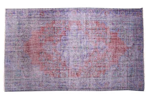 5'7''x9'2''Faded Red Gray-Blue Color Turkish Wool Rug,Anatolian Ottoman Handmade Area Rug,Decorative Rug,Nomadic Rug,Modern Art Rug,3412